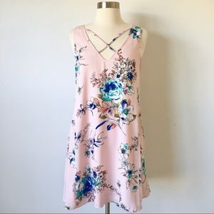 Altar'd State Pink Floral Sleeveless Swing Dress